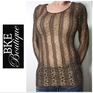 LIKE NEW BKE Boutique Brown Gold Lace Top Large L